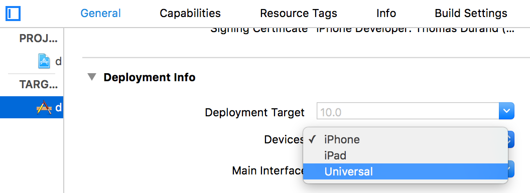 the selector of devices in the target settings